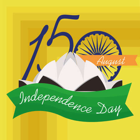 Independence day of India. Lotus temple - Vector