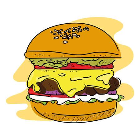 Isolated burger icon. Fast food icon - VEctor Ilustración de vector