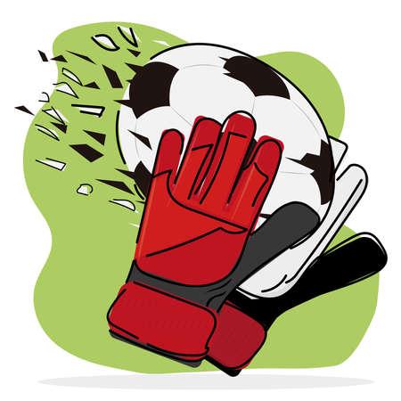 Soccer goalkeeper gloves. Soccer uniform - Vector illustration