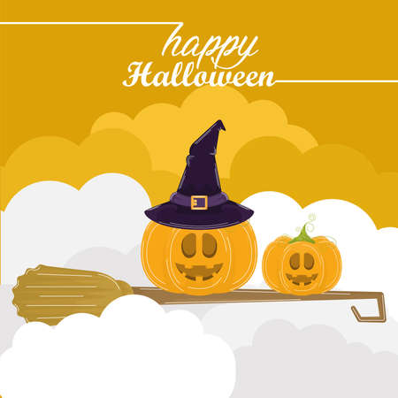 Halloween pumpkins in a witch broom. Happy halloween card - Vector illustration 矢量图像