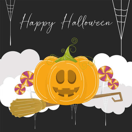 Halloween pumpkin in a witch broom. Happy halloween card - Vector illustration