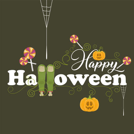 Halloween pumpkins and candies. Happy halloween card - Vector illustration