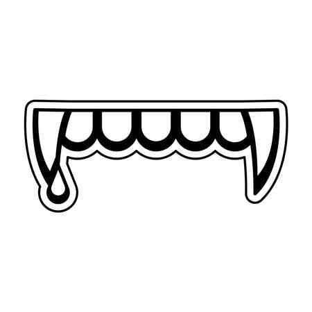 Vampire teeth with blood. Halloween season icon - Vector Illustration