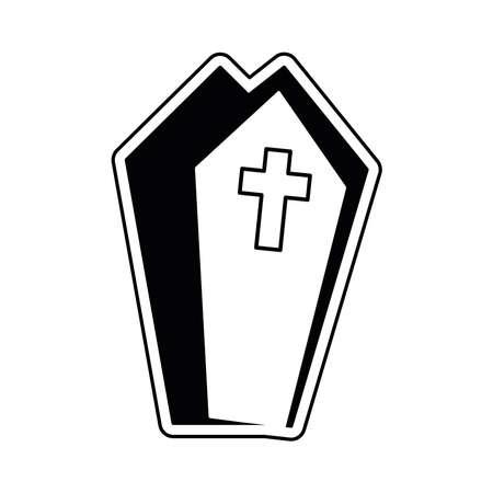 Isolated coffin icon. Halloween season icon - Vector