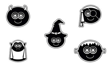 Set of monsters icons. Halloween season icons - Vector  イラスト・ベクター素材