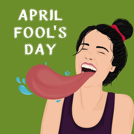 April fool day poster. Laughing woman with tongue out. Pop art style - Vector