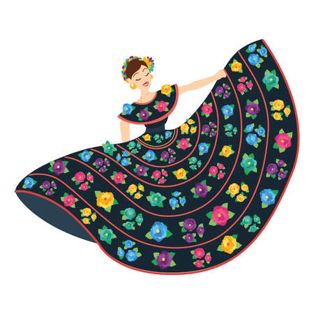 Isolated mexican woman on a folkloric dress with flowers - Vector Vetores