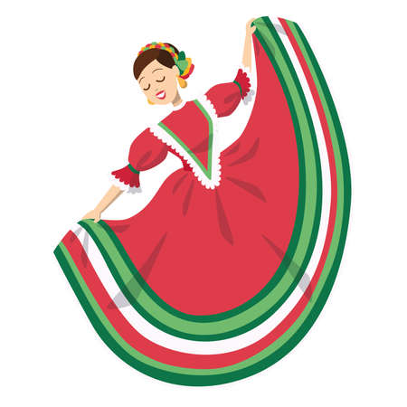 Isolated mexican woman on a folkloric dress - Vector