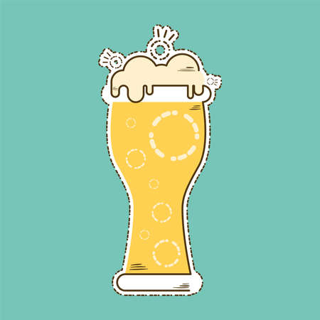 Beer glass with foam icon within cut lines