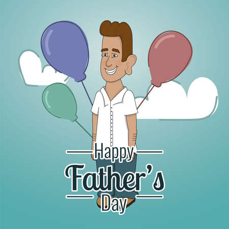 Happy man with balloons Father day poster