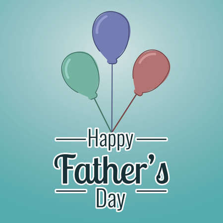 Isolated group of party balloons Happy fathers day poster