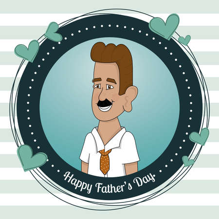 Badge with a happy man Father day poster