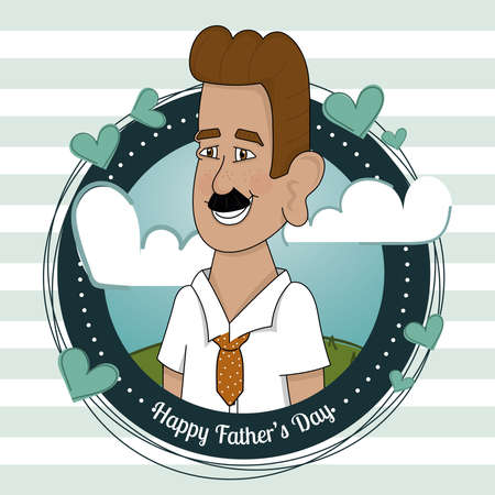 Isolated happy man on a badge Father day poster