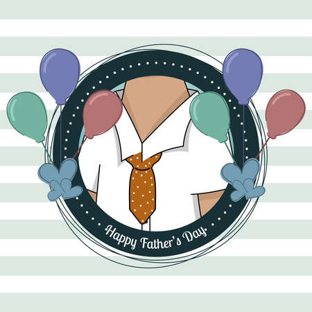 Badge with a father wearing a shirt Father day poster