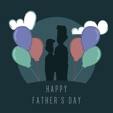 Happy man with his son Father day poster
