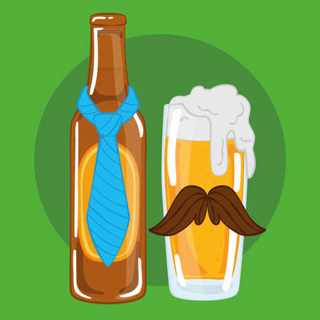 Beer bottle with a necktie and a drinking glass with a mustache