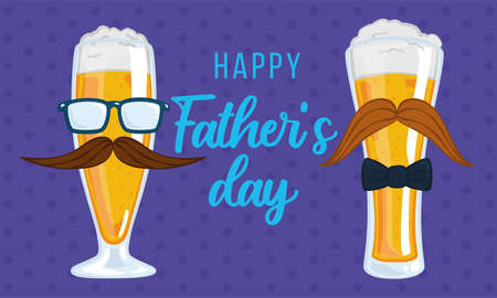 Father day poster with a pair of drinking glass with foam