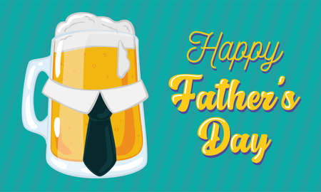 Father day poster with a drinking beer glass with a necktie