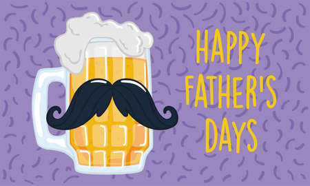 Father day poster with a drinking glass with a mustache