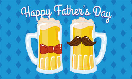 Father day poster with a pair of hipster beer drinking glass