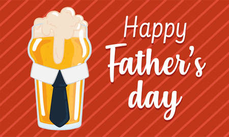 Father day poster with a drinking beer glass with a necktie and foam Illusztráció