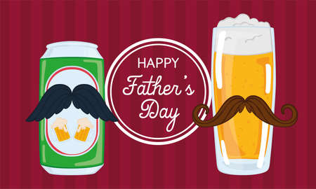 Father day poster with a drinking glass and a beer can