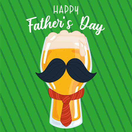 Father day poster with a drinking beer glass with a necktie and a mustache Illusztráció