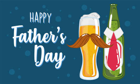 Father day poster with a drinking glass and a beer bottle