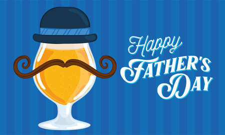 Father day poster with a drinking beer glass with a necktie and a hat Illusztráció