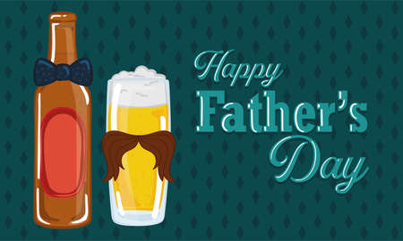 Father day poster with a drinking glass and a beer bottle with a necktie