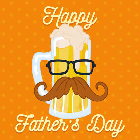 Father day poster with a hipster drinking glass with a mustache and glasses