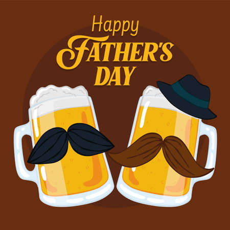 Father day poster with a pair of beer drinking glass with mustaches