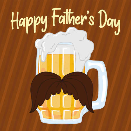 Father day poster with a drinking glass with a mustache and foam Illusztráció