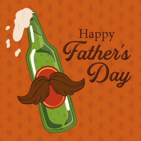 Father day poster with a beer bottle with mustache
