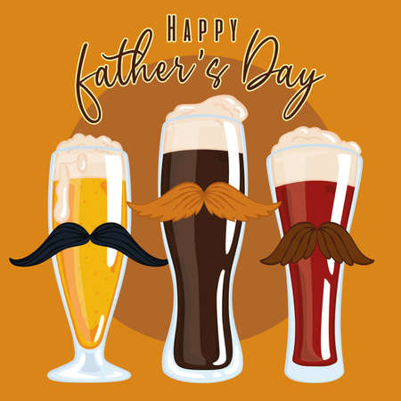 Father day poster with a group of beer drinking glass with mustaches