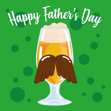 Father day poster with a beer glass with a mustache and foam Illusztráció