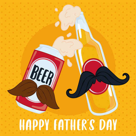 Father day poster with a beer can and a beer bottle with mustaches