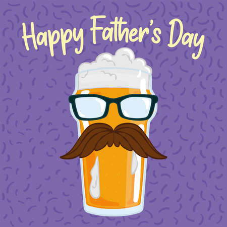 Father day poster with a beer drinking glass with a mustache and glasses Illusztráció
