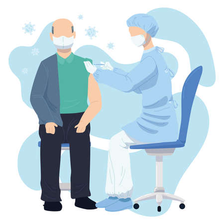 Female nurse character applying a vaccine to an old man Illusztráció