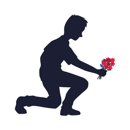 Isolated kneeling man with flowers