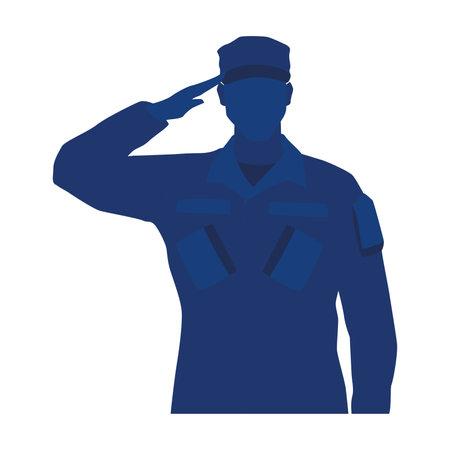 Silhouette of a US army man Illusztráció
