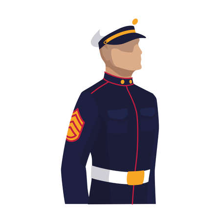 Isolated Navy man of USA