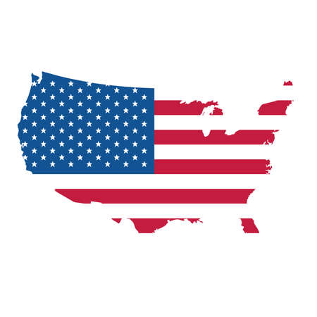 Map with flag of United States