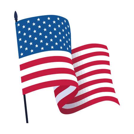 Isoalted waving flag of the United States Illusztráció