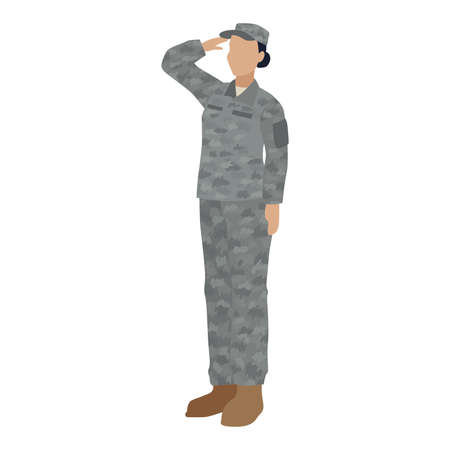 Isolated US army woman Soldier