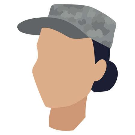 Isolated face of a US army woman Illusztráció