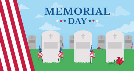 Graves with flag of United States Memorial day