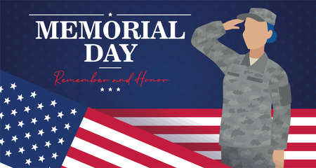 US army woman with flag of United States Memorial day