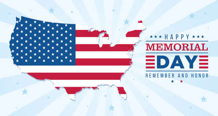Map with flag of United States Memorial day