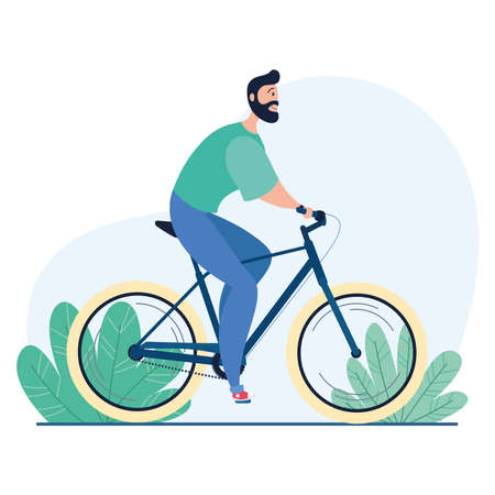 Isolated man riding a bicycle